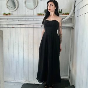 Strapless black gown